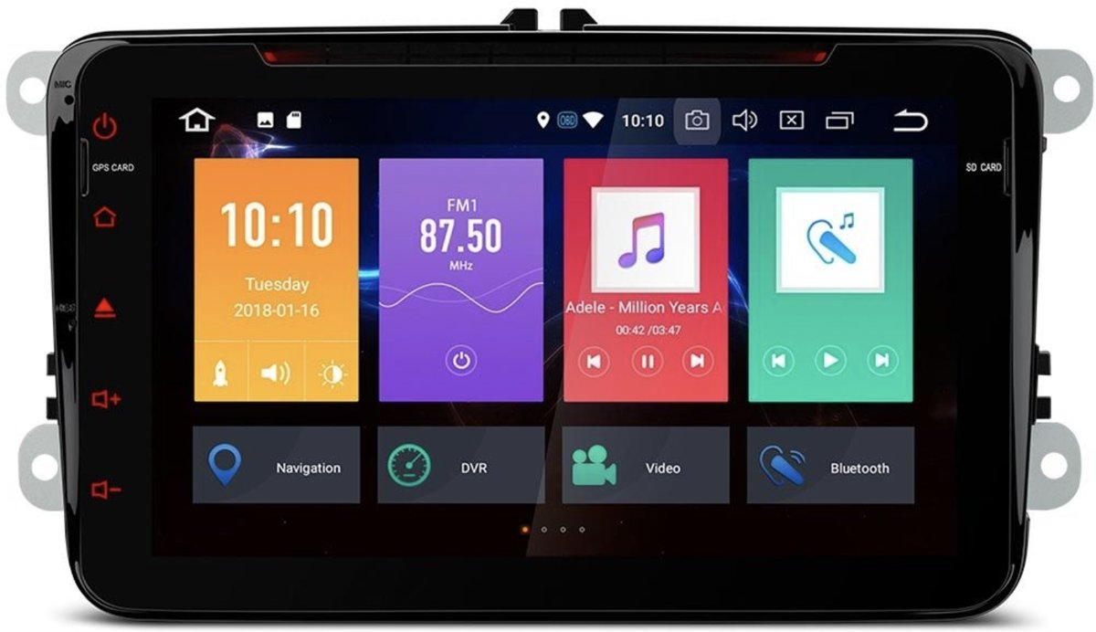 VW | Seat | Skoda 8 INCH HD Octa Core 16GB + DDR3 4G RAM Android 8.0 Digitale Touchscreen HDMI Auto DVD-speler kopen