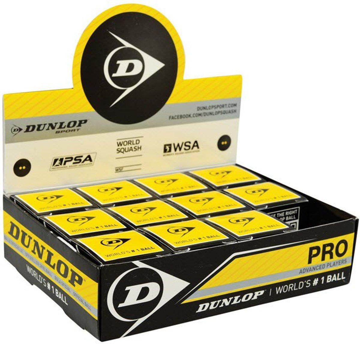 Dunlop Pro squashballen dubbel geel stip 12x
