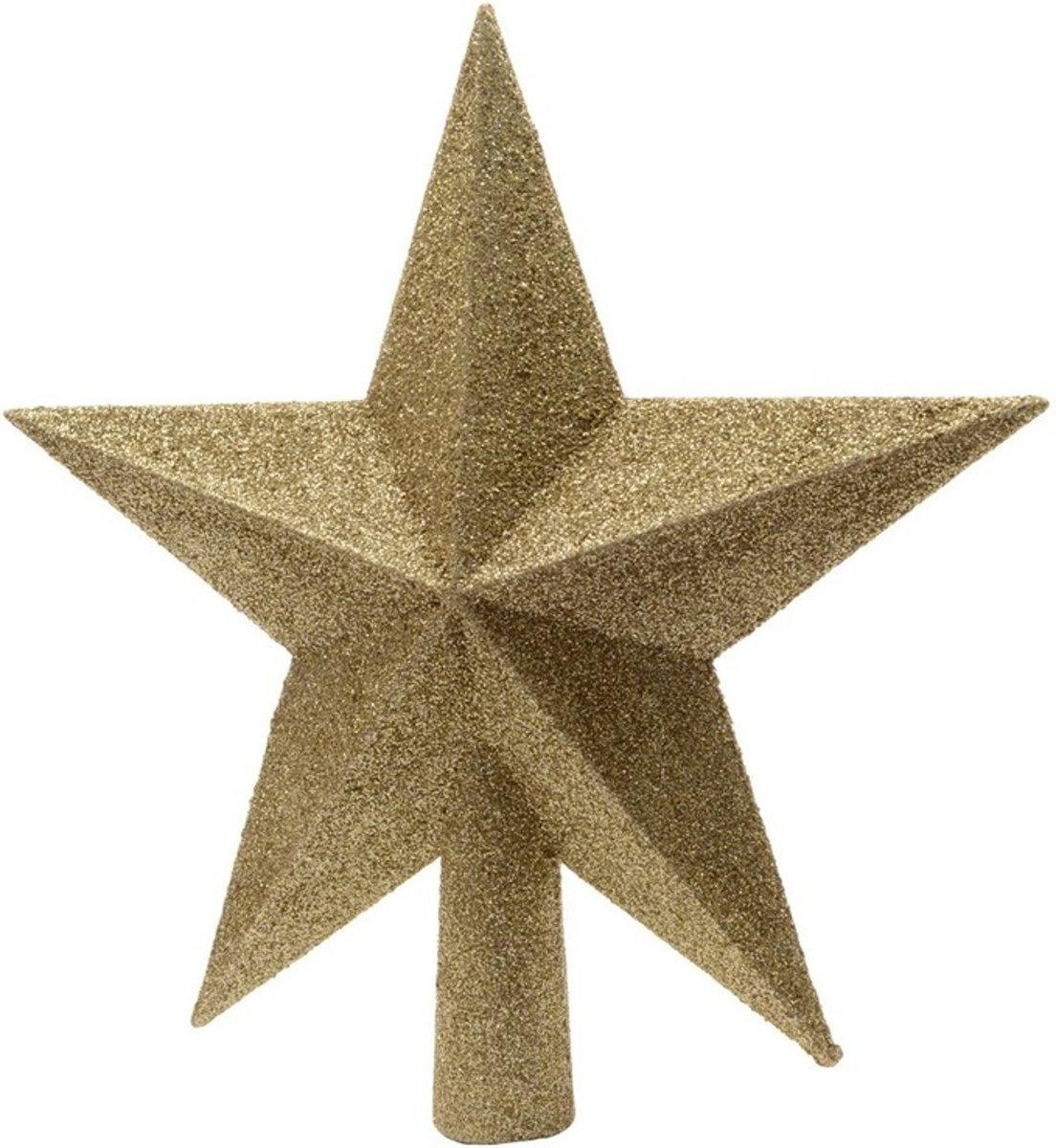Gouden kerstboom ster piek van kunststof 19 cm - Kerstboomversiering goud kopen