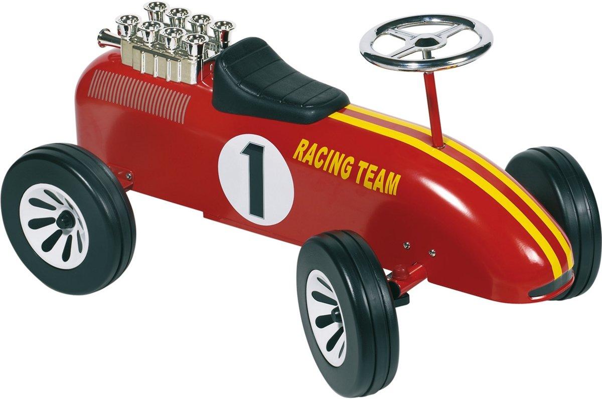 ZZZLoopauto: RACING TEAM NR 1 ROOD 73,5x35x40cm, in metaal en k