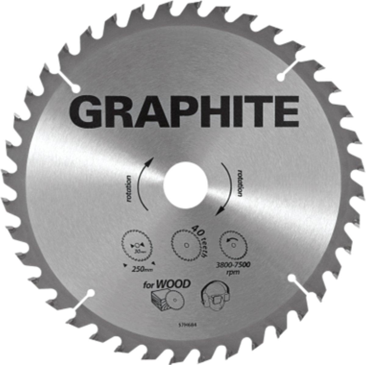 GRAPHITE Cirkelzaagblad 250 mm, 100 tands, Aluminium