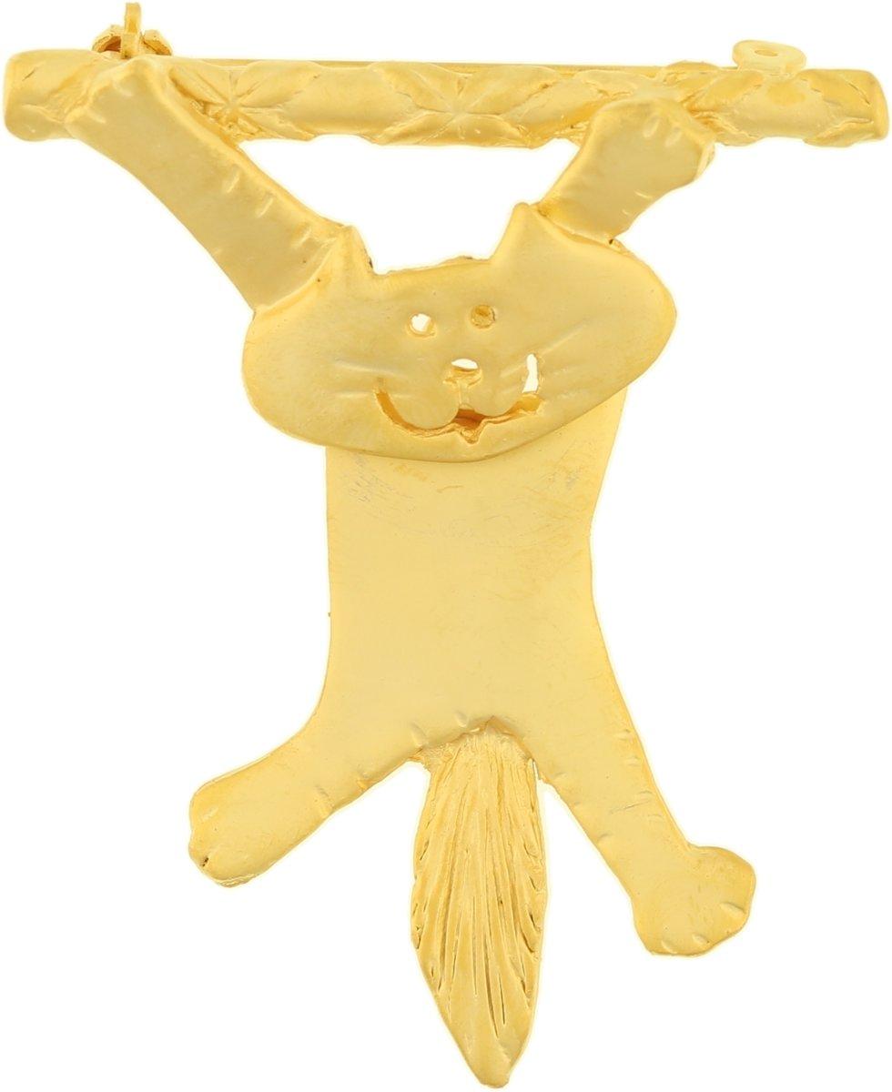 Behave® Broche kat poes aan tak cartoon goud kleur 5,5 cm kopen