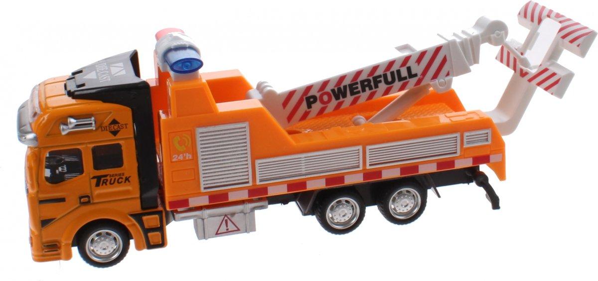 Super Truck Takelwagen Diecast 20 Cm Pull-back Geel/wit