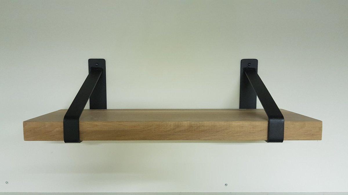 Wandplank Met Stalen Dragers.Industriele Plankdragers Staal Mat Zwart Eikenhout 150cm Planken Dragers