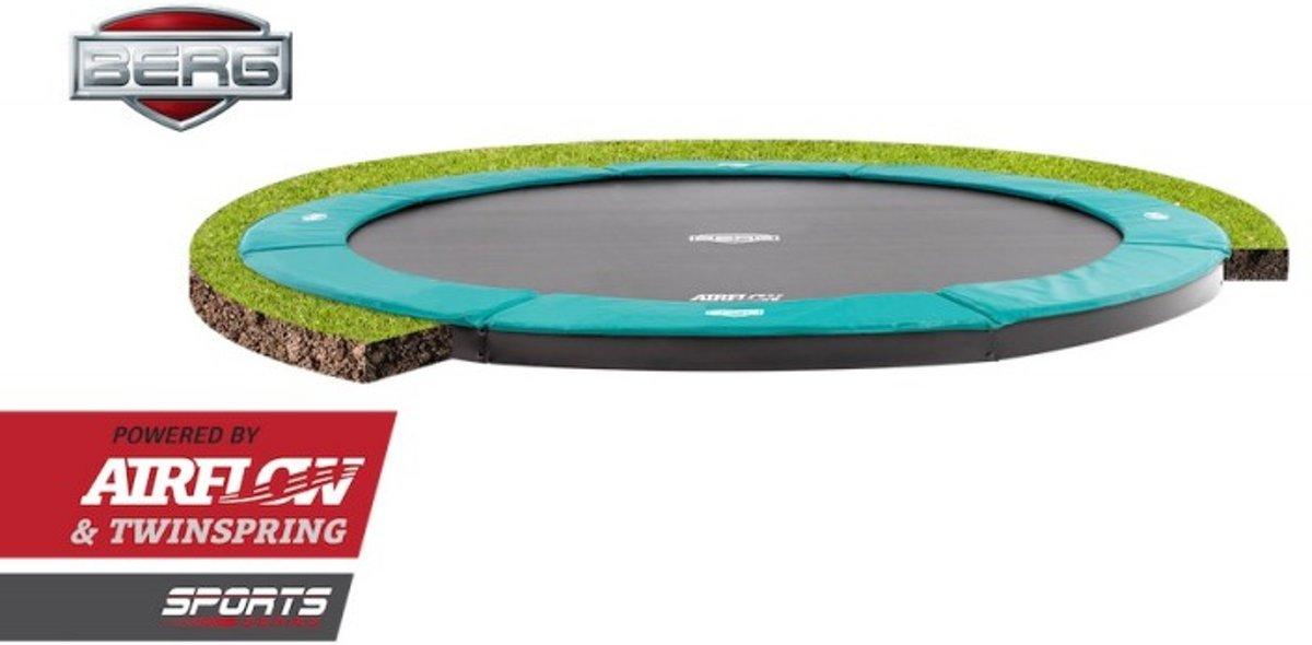 BERG FlatGround Champion inground Trampoline 380 - groen - Model 2018 met Airflow