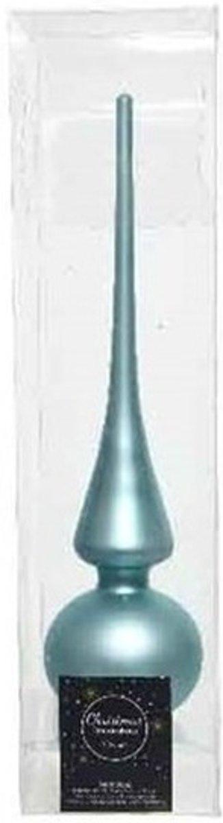 IJsblauw glazen piek mat 26 cm - IJsblauwe kerstboom versieringen kopen