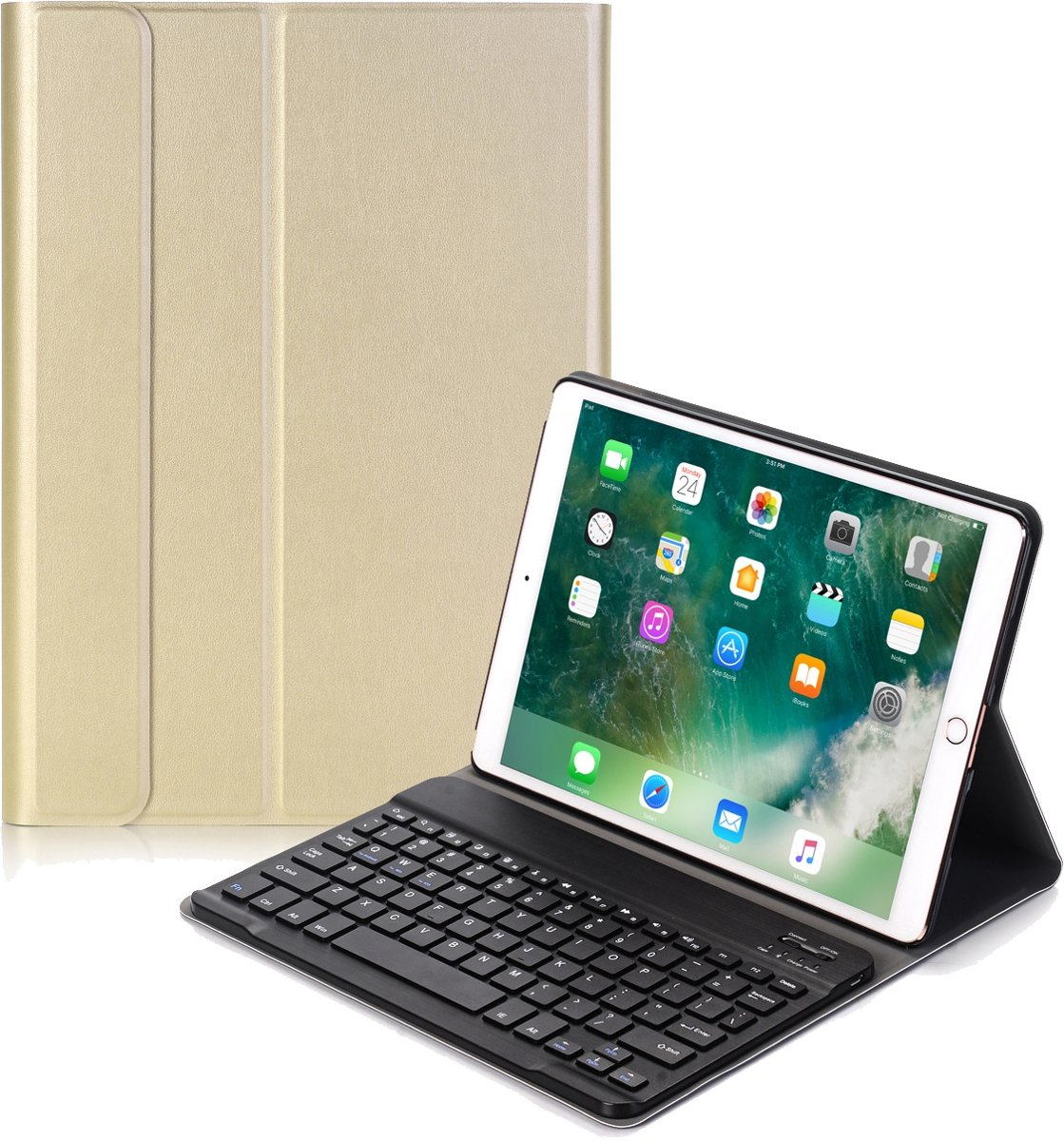 iPad 10.2 2019 Toetsenbord Hoes Keyboard Cover Hoesje Case - Goud