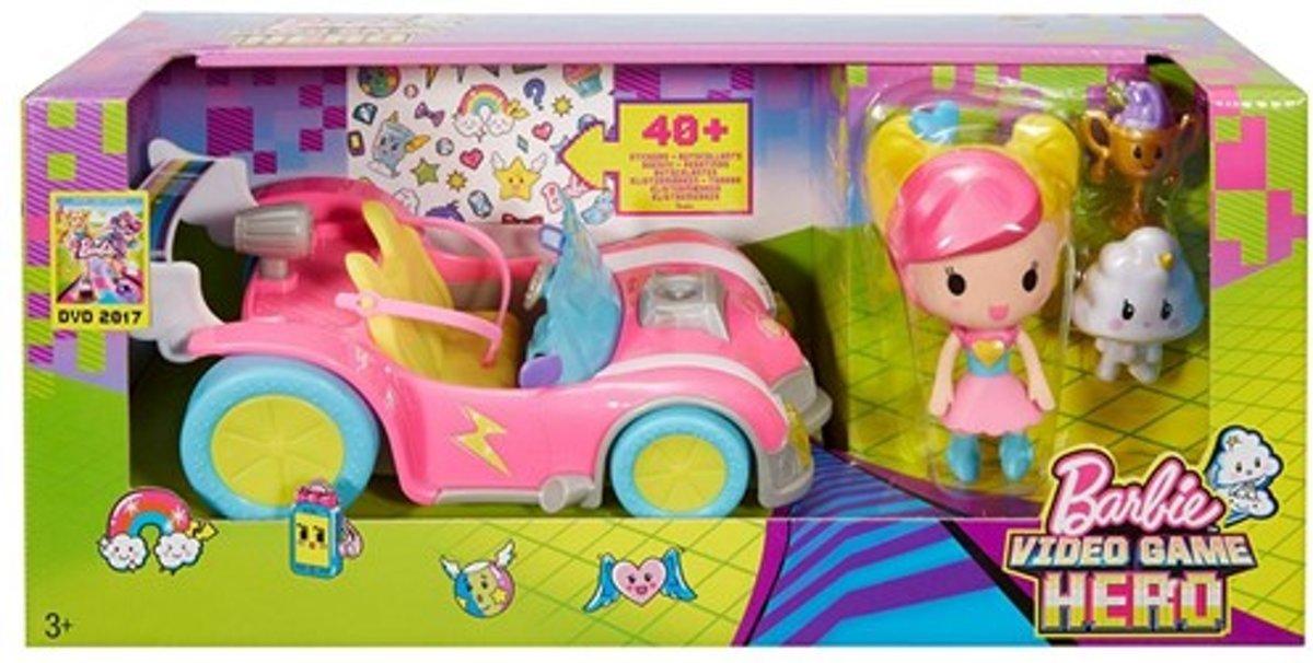 Barbie Video Game Hero auto met figuurtjes