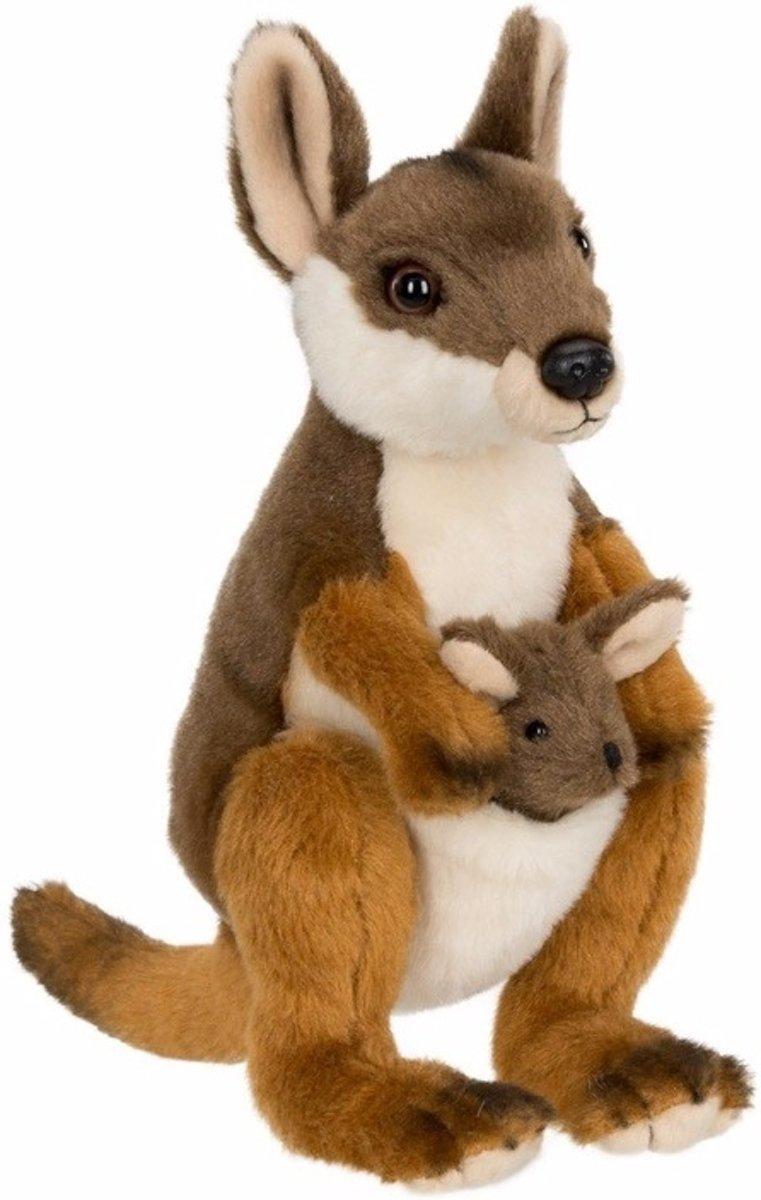 f1296f2284f66a WNF pluche kangoeroe met baby knuffel 19 cm - knuffeldier