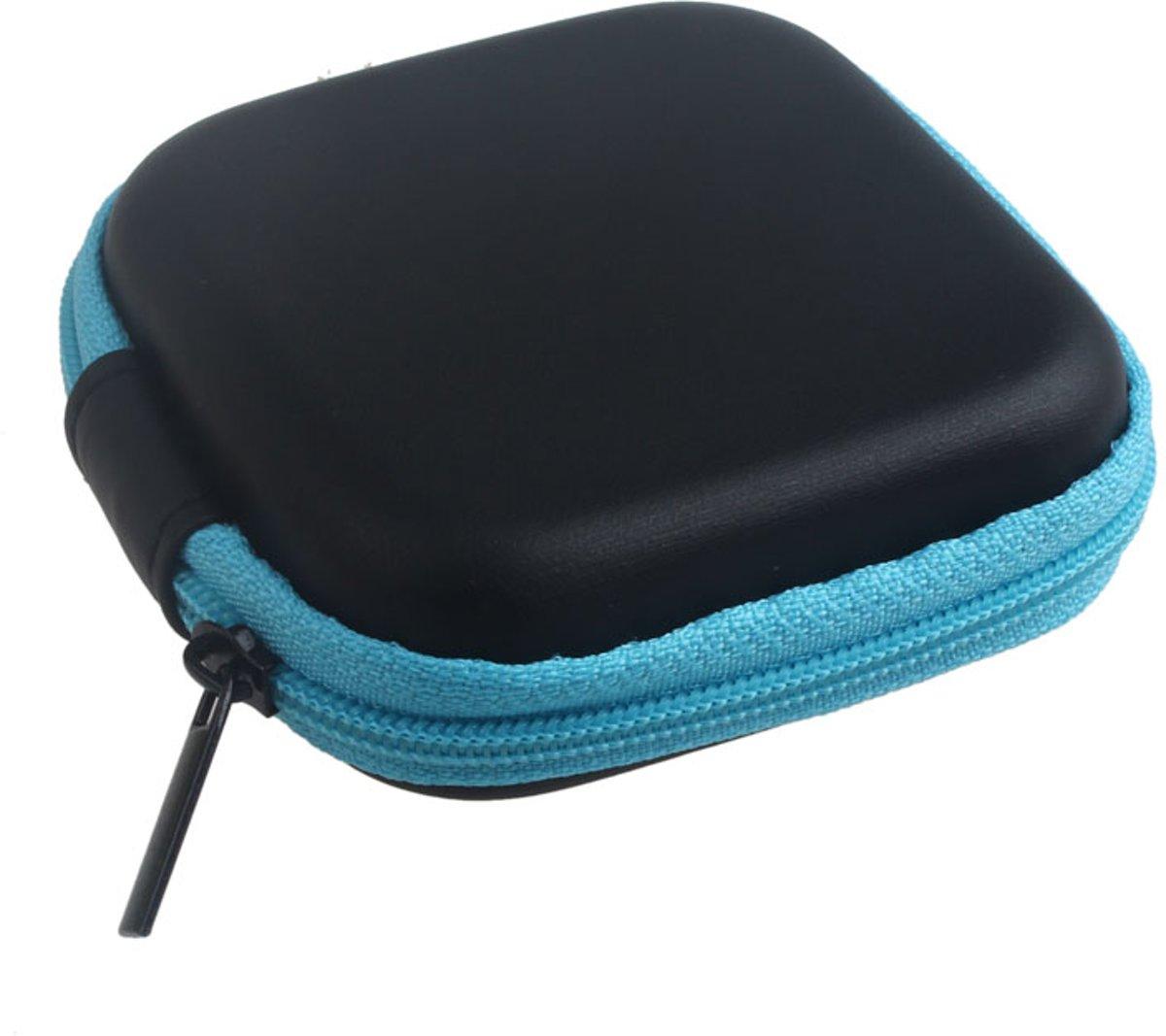 Handige zipper bag vierkant voor het bewaren van uw oortjes Zwart kopen