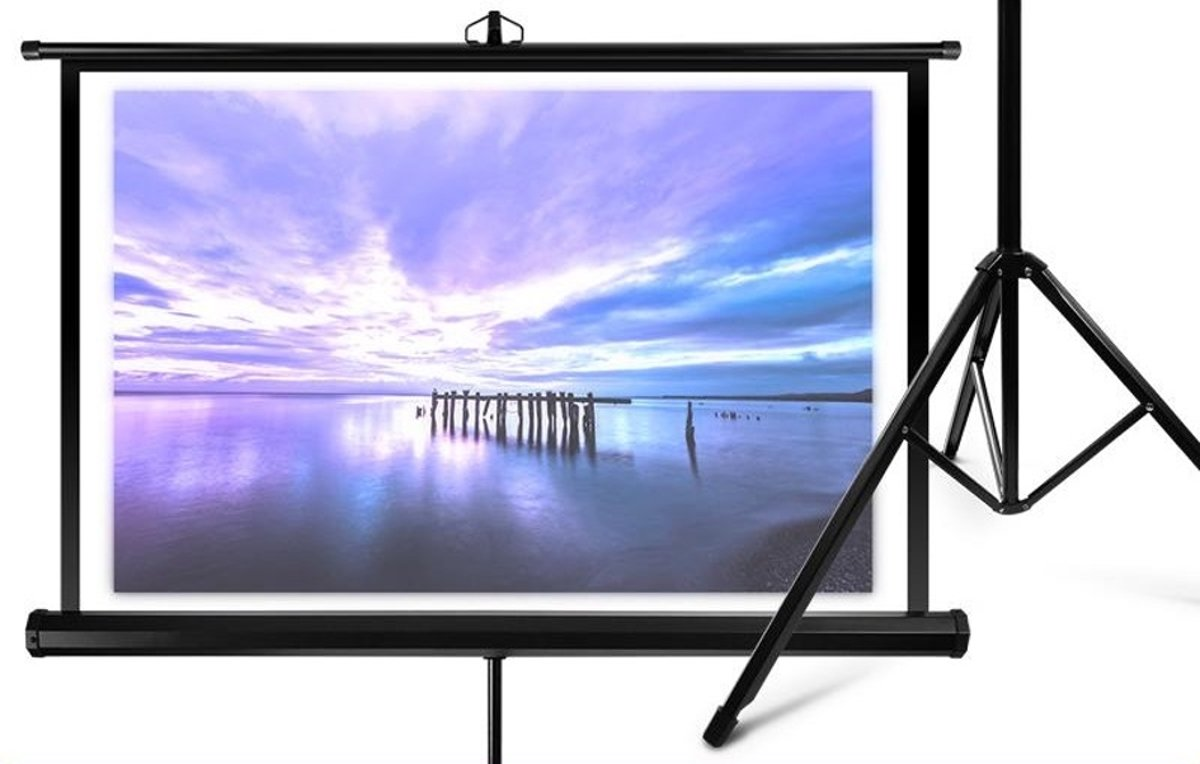 Overmax projectiescherm wit + statief  137cm x1 kopen