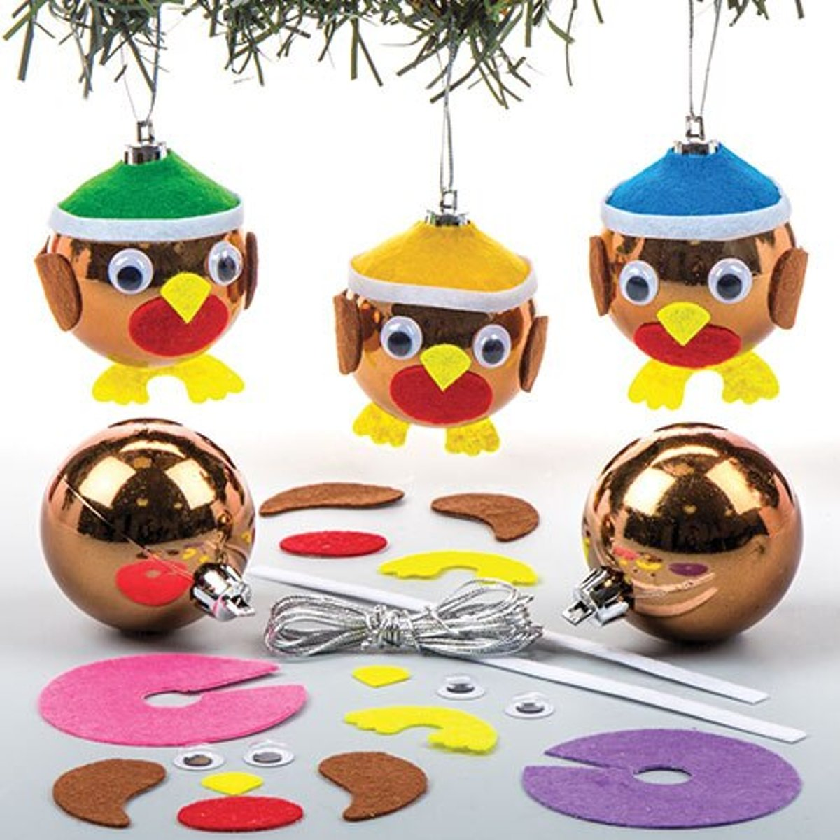 Sets met kerstballen met roodborstje voor kinderen om zelf te maken - Creatieve kerstknutselset voor kinderen (6 stuks per verpakking) kopen
