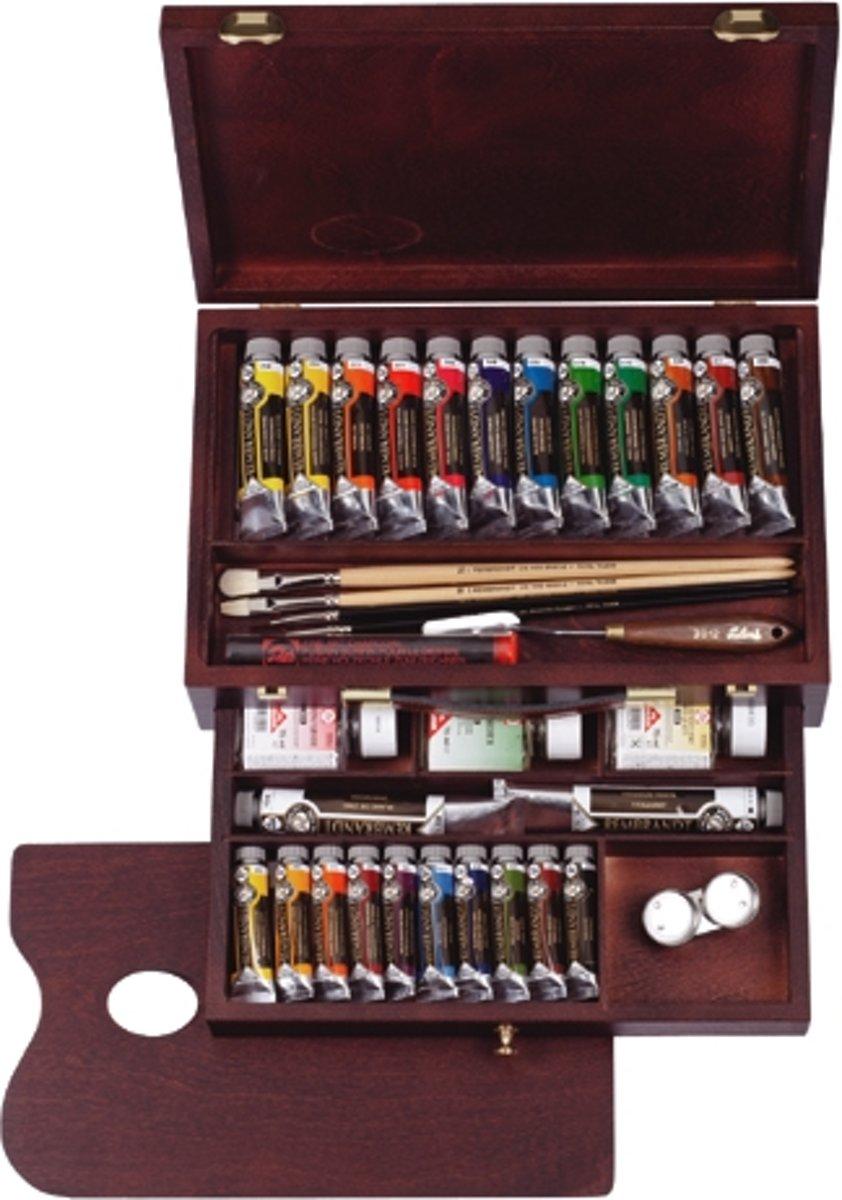 Rembrandt olieverf kist 24 tubes met accessoires - Master kopen