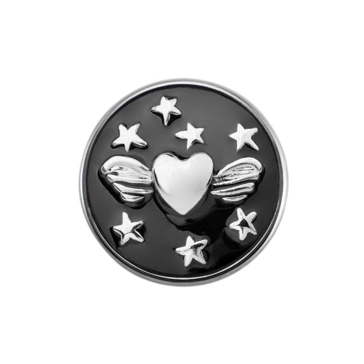 Quiges - Dames Click Button Drukknoop 18mm Hart met Ster Emaille Zwart - EBCM235 kopen