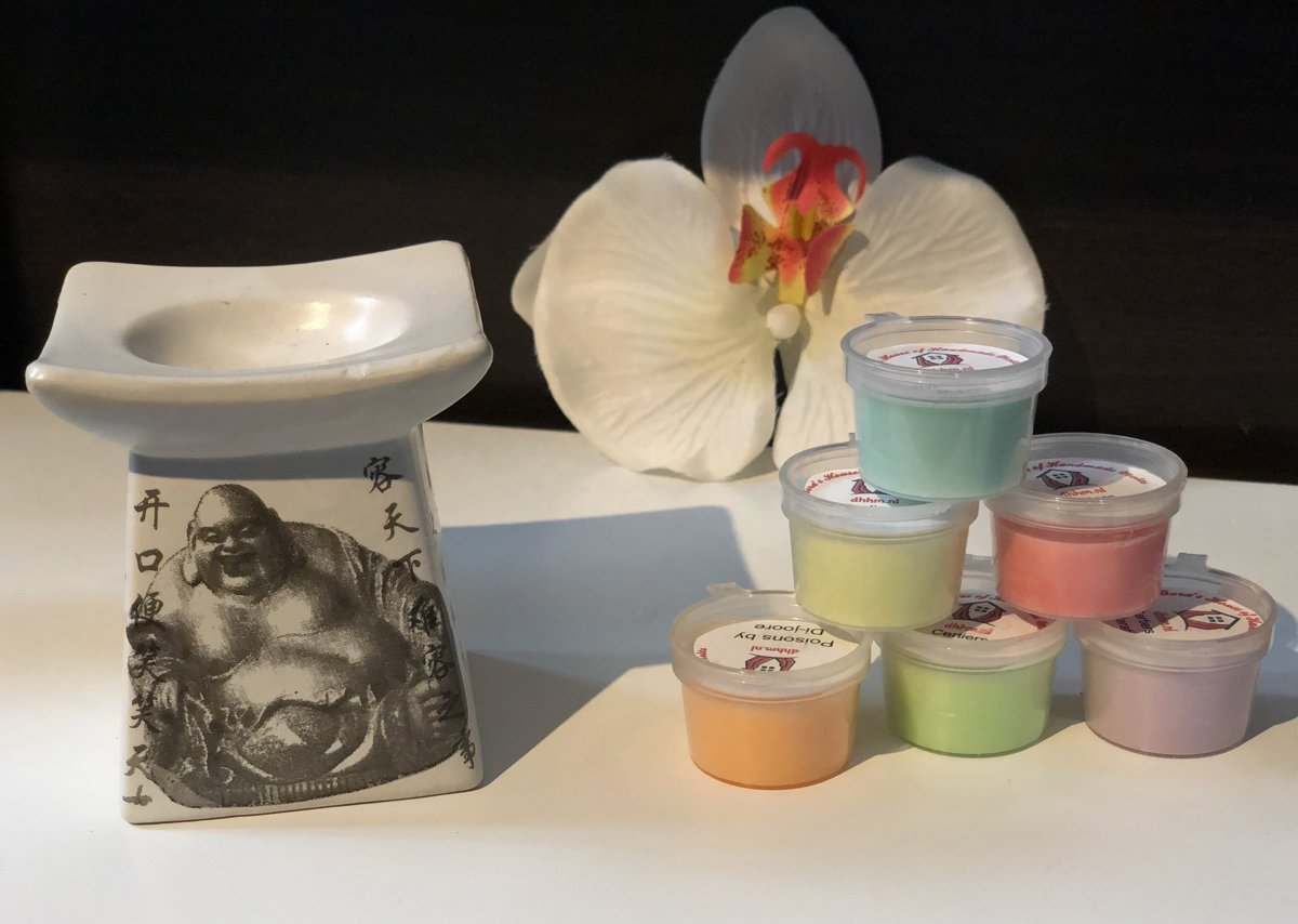 Wax Melts (parfum)geuren verrassingspakket met 10 geuren incl. DHHM | Aromabrander | Geurbrander | Boeddha print | Wit