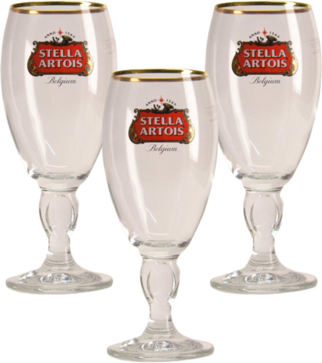 Stella Artois op voet Bierglas - 25cl (Set van 3)