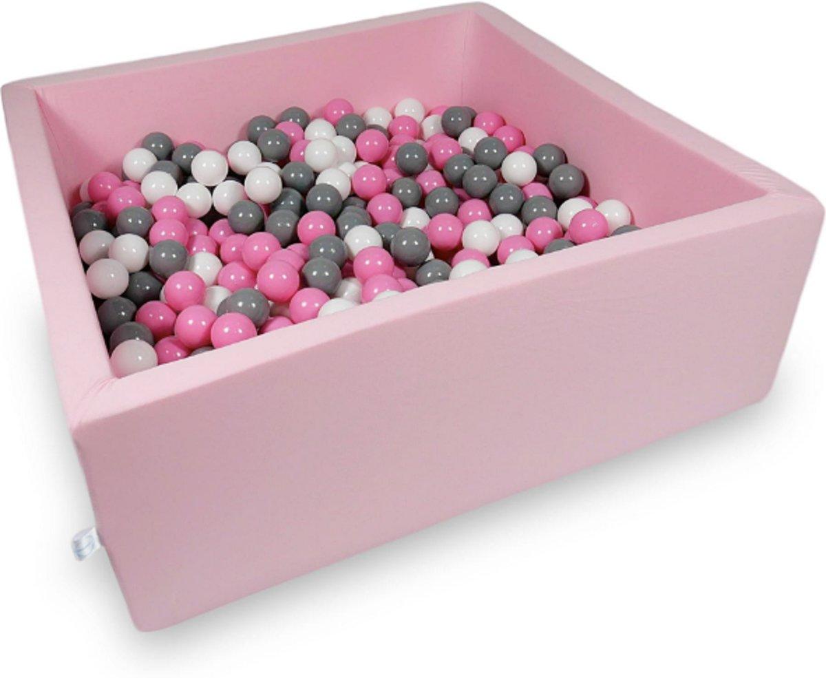 Ballenbak - 600 ballen - 110 x 110 cm - ballenbad - vierkant roze