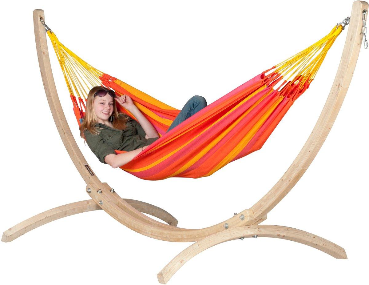 Hangmatset: 1-persoons hangmat  SONRISA mandarine + Standaard voor 1-persoons hangmat CANOA