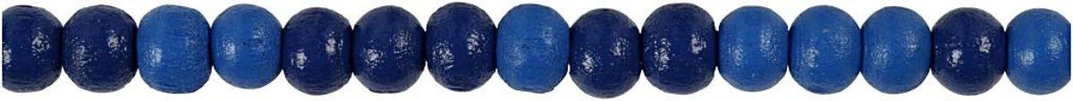 Houten kralen, d: 5 mm, gatgrootte 1,5 mm, blauw, 6gr, circa 150 stuk [HOB-570398] kopen