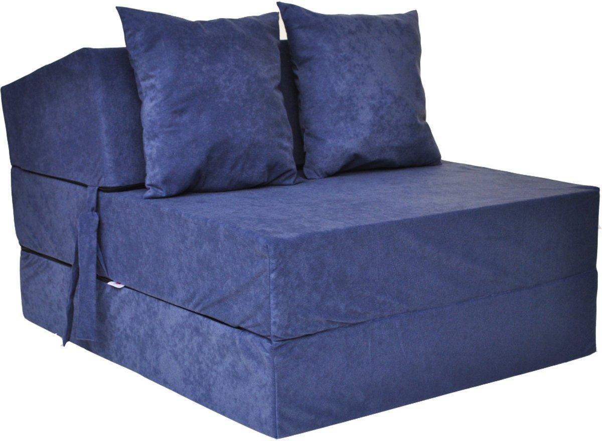 Luxe logeermatras - navy blauw - camping matras - reismatras - opvouwbaar matras - 200 x 70 x 15 - met kussens