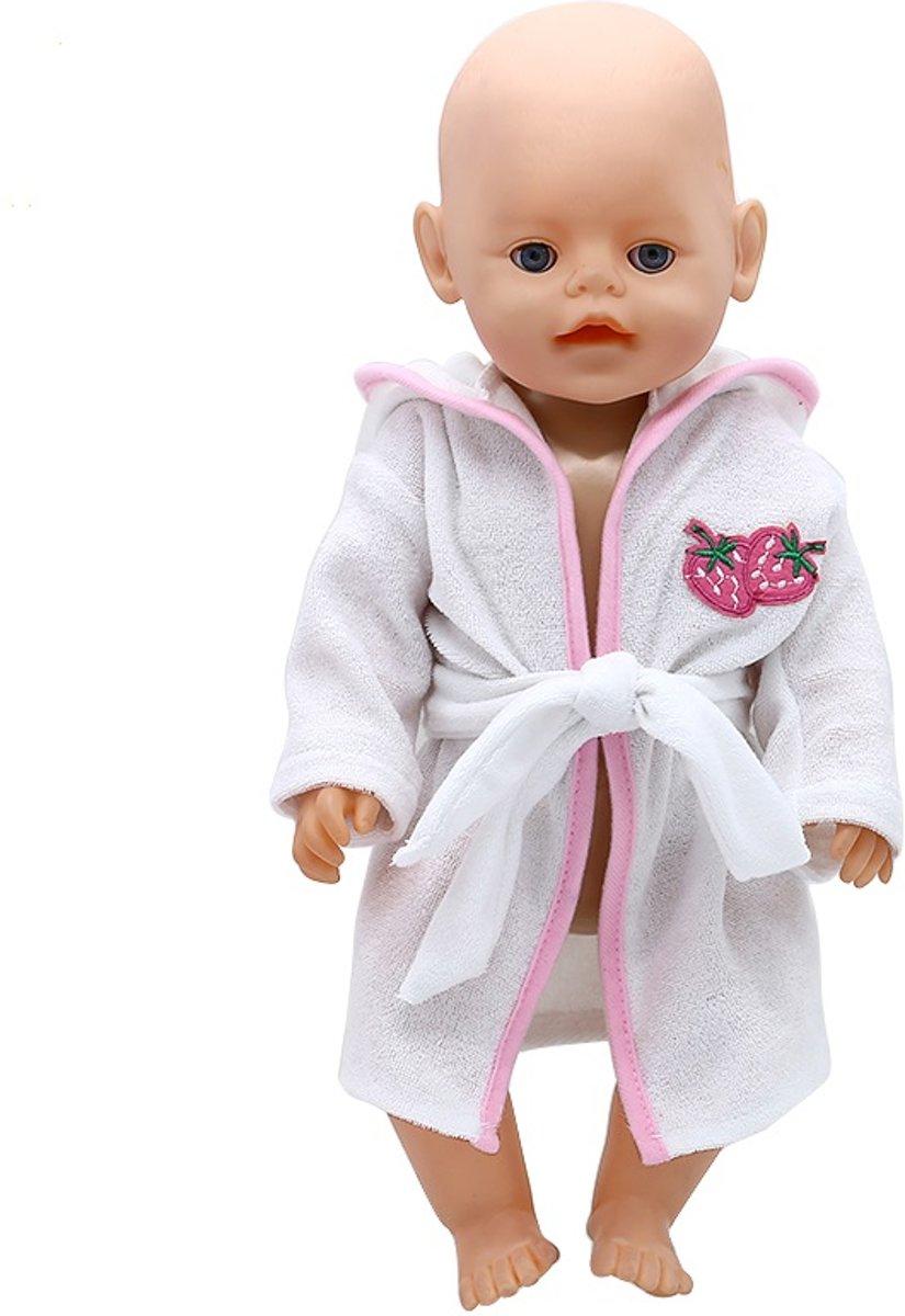 Badjas, wit met aarbei, voor Baby Born pop of andere babypop met lengte van circa 43 cm - Badstof poppenkleertjes