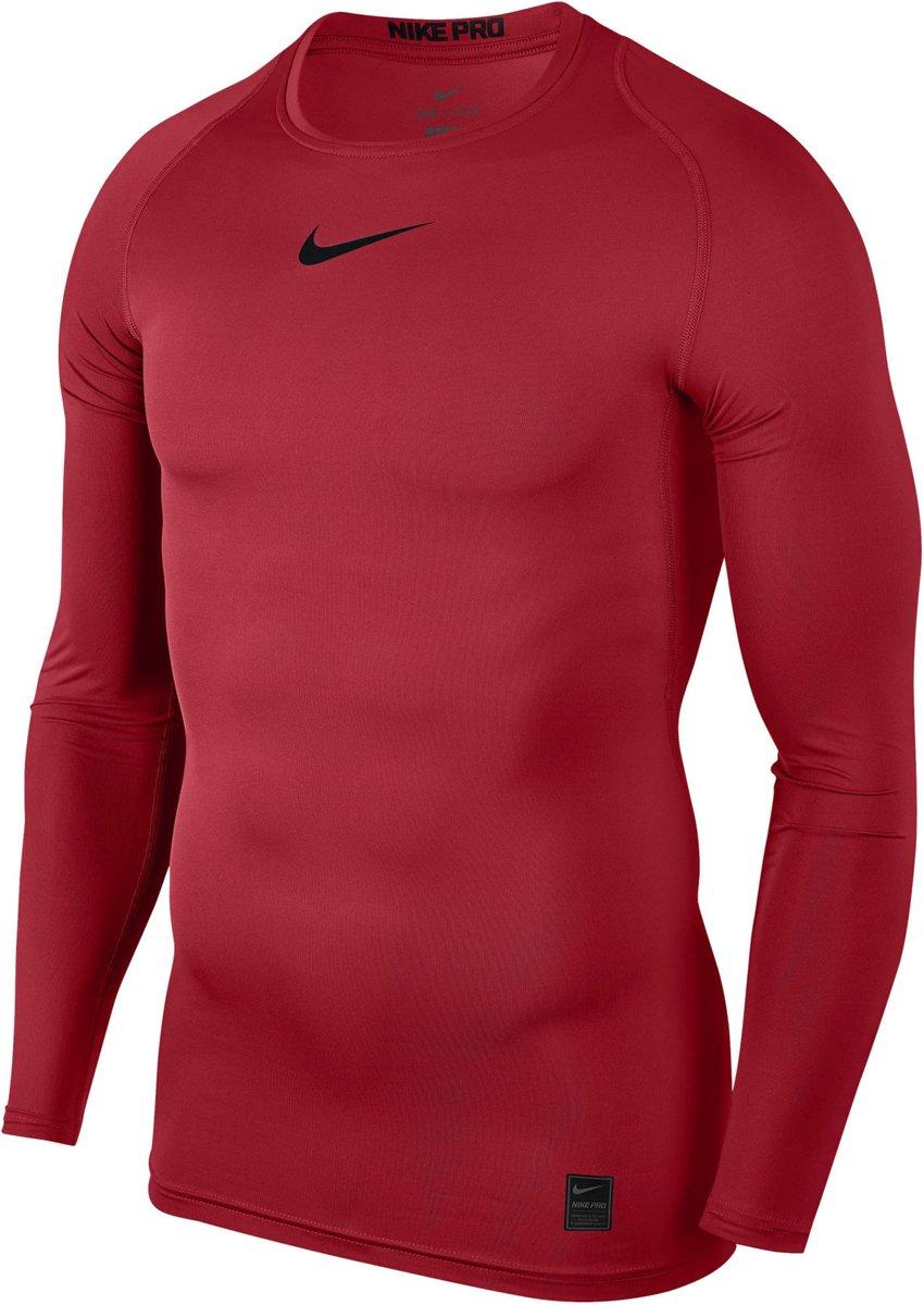 Nike Pro Compression Sportshirt performance Maat XL Mannen rood