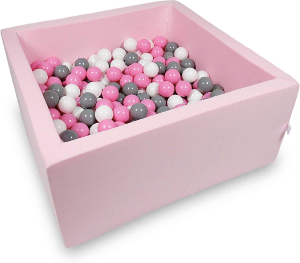 Ballenbak - 400 ballen - 90 x 90 x 40 cm - ballenbad - vierkant roze