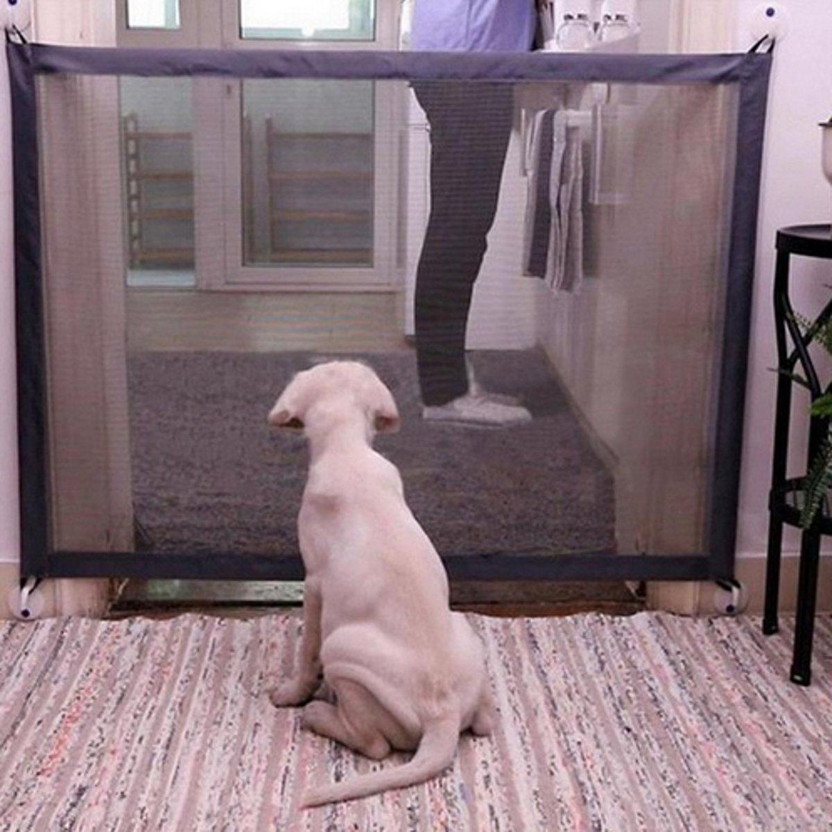 Hondennet gaas voor honden in deuropening 110cm breed 72cm hoog Zwart / HaverCo kopen