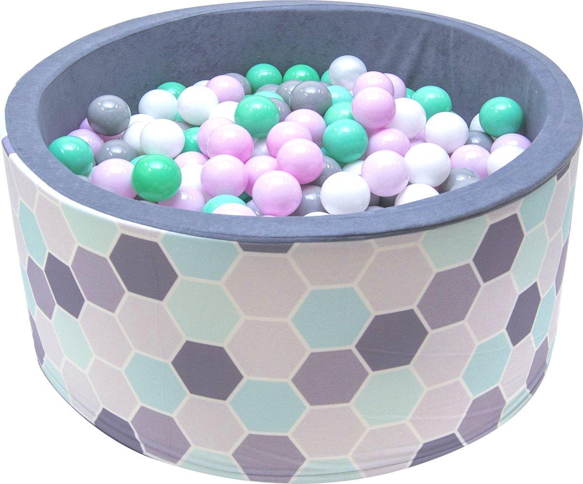 Ballenbak - stevige ballenbad - 90 x 40 cm - 200 ballen Ø 7 cm - roze, groen, turqoise, wit en grijs
