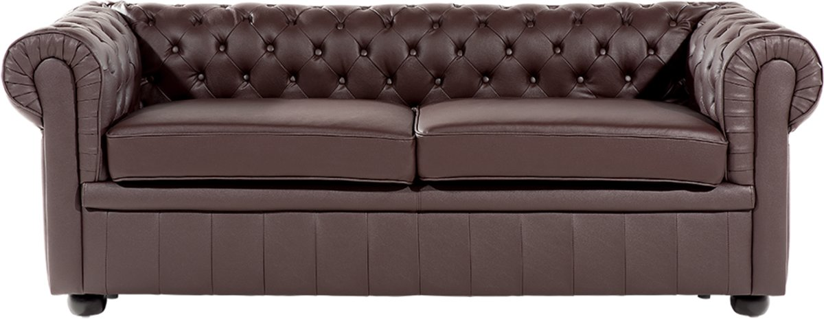 Rode Leren Chesterfield Bank.Bol Com Beliani 3 Zits Bank Chesterfield Donkerbruin Leer