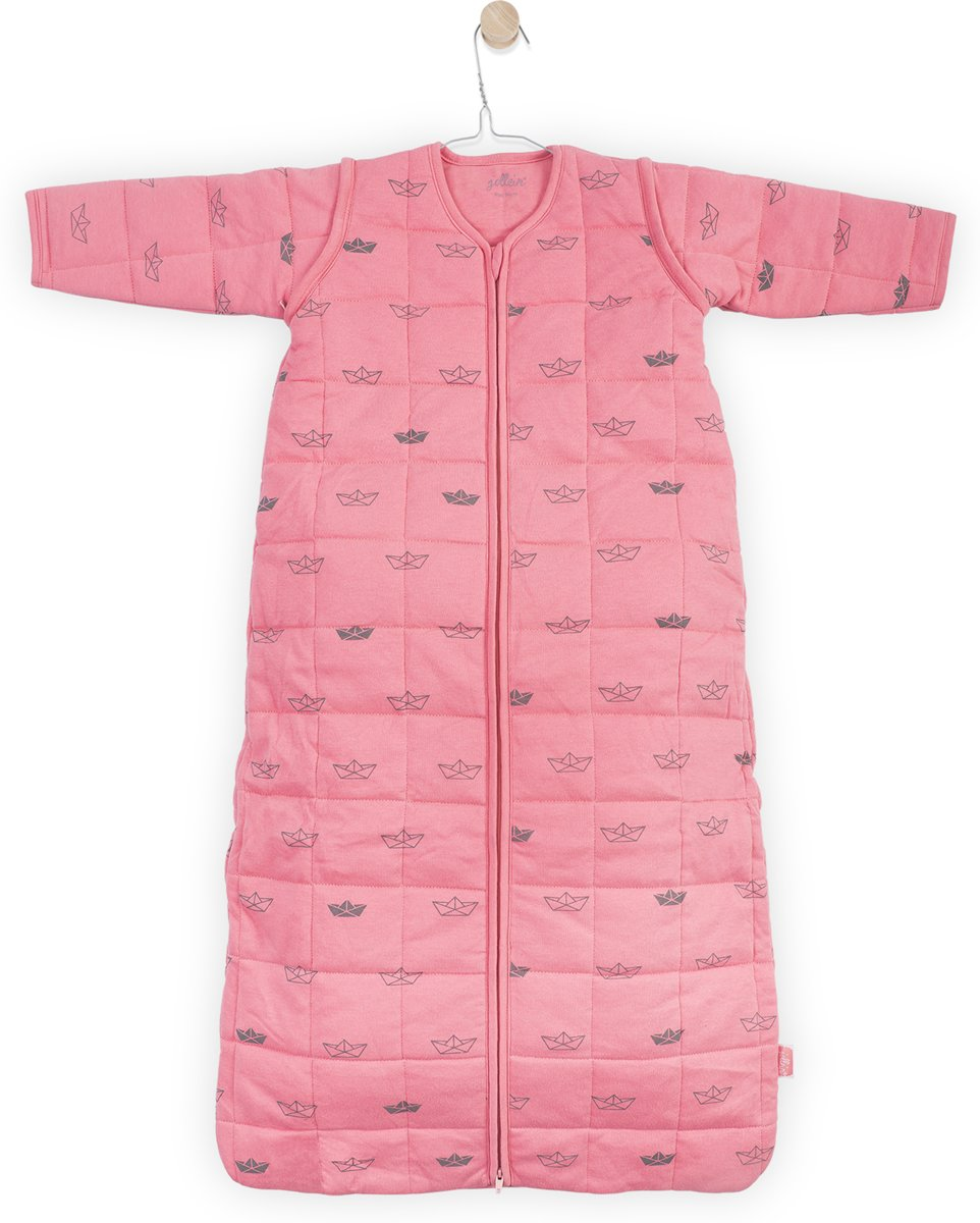 Jollein Little boats Padded Babyslaapzak met afritsbare mouw - 70cm - Coral pink
