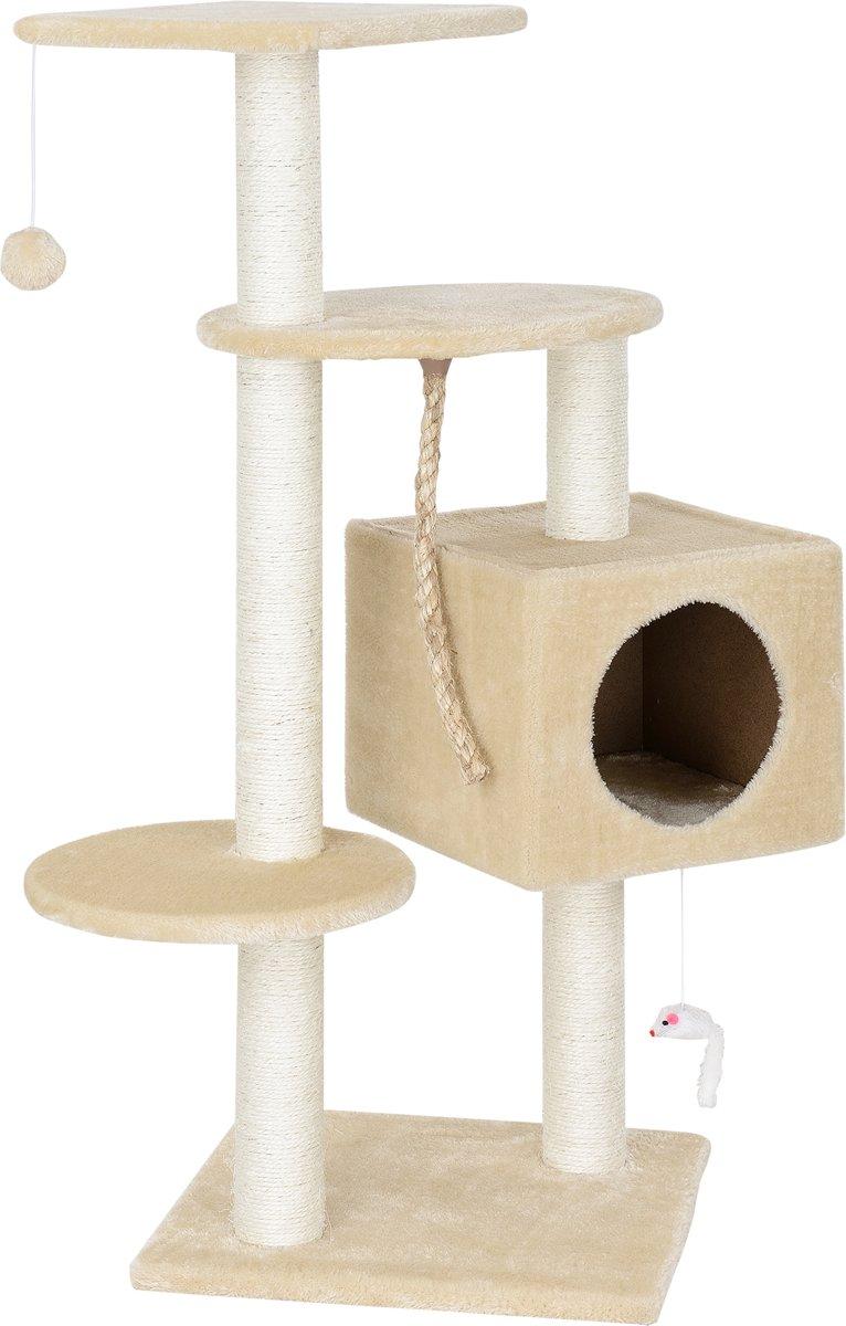 [en.casa]® Krabpaal - Kat meubel - 40x40x113cm - Crème