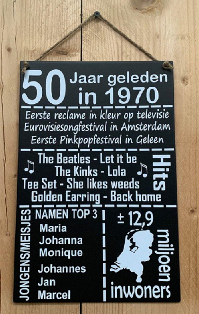 Zinken Tekstbord 50 Jaar Geleden In 1969 Antraciet