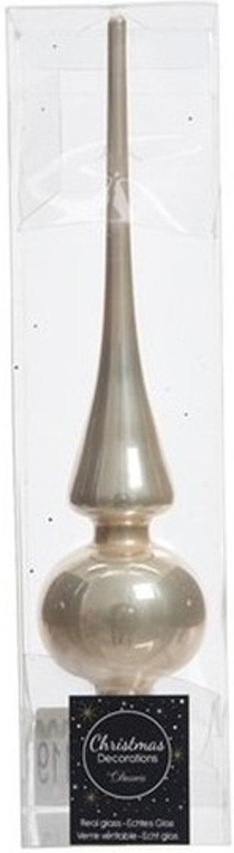 Licht parel/champagne glazen piek glans 26 cm - Licht parel/champagne kerstboom versieringen kopen