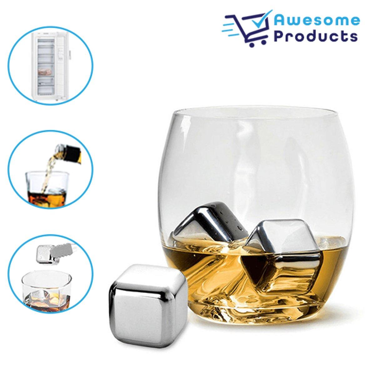 WhiskeyStones – 8 Stuks - Herbruikbare ijsblokjes – Roestvrijstaal - Luxe Whiskeystenen kopen