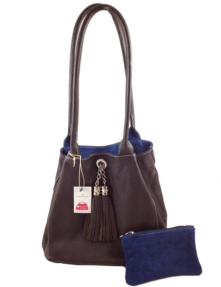 Bags and Tulips omkeerbare Schoudertas Lyn leersuede bruindenim blauw