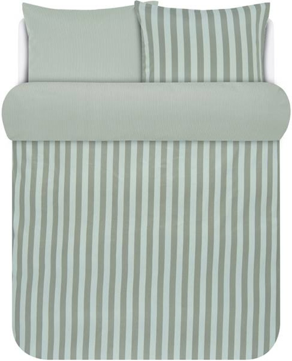 Marc O'Polo Classic Stripe - Dekbedovertrek - Lits-jumeaux - 240x200/220 cm + 2 kussenslopen 60x70 cm - Soft Olive kopen