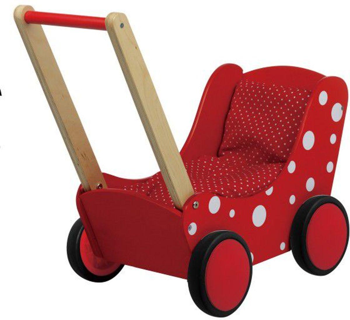 Houten Poppenwagen Rood met Witte Stippen