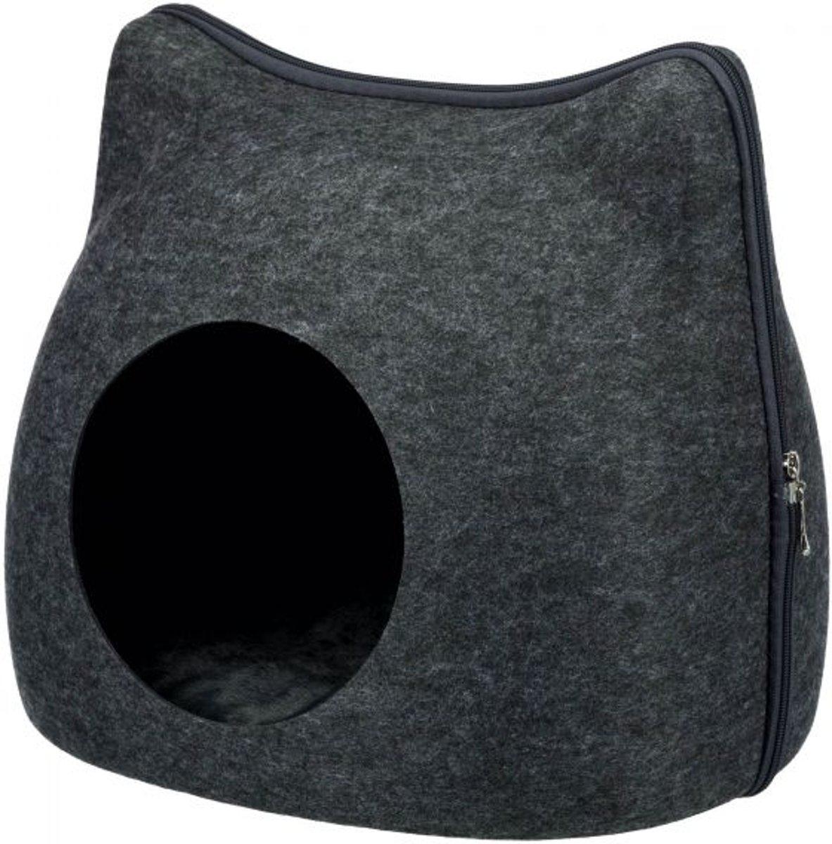 Trixie Relax Iglo Cat Kattenmand - Vilt - Antraciet - 38 x 35 x 37 cm