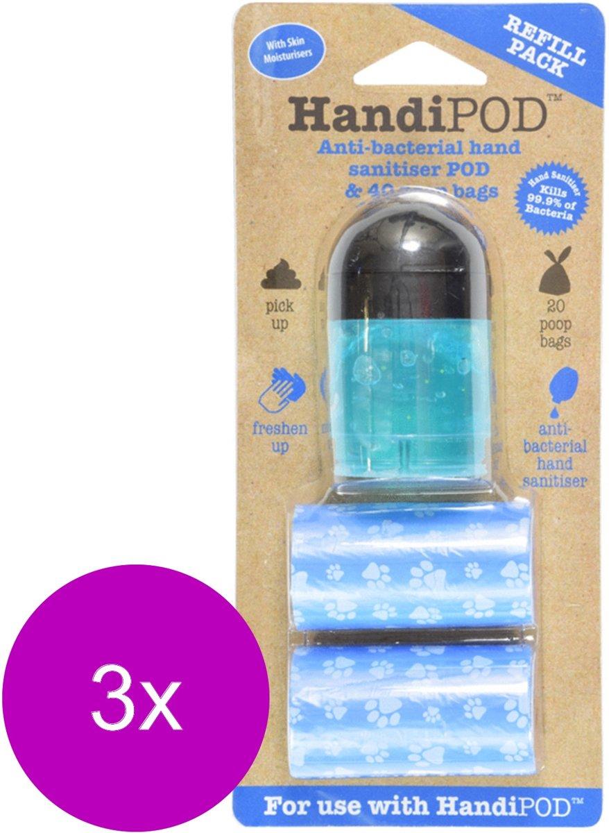 Handipod Gel Navulling - Hondenpoepzakjes - 3 x Zwart Blauw 2x20 stuks Desinfectie Gel kopen
