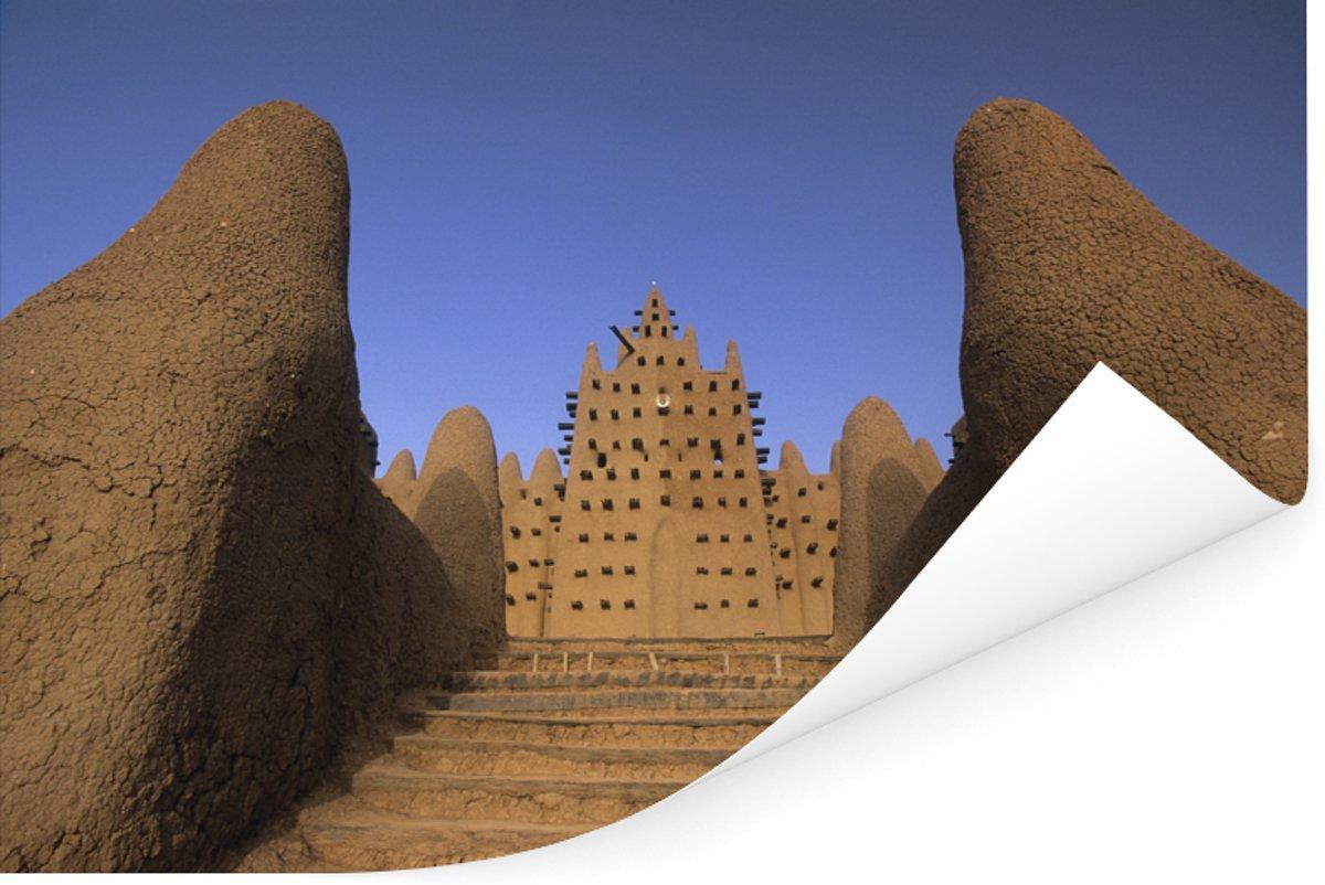 Mooie trap voor de Grote moskee van Djenné Poster 180x120 cm - Foto print op Poster (wanddecoratie woonkamer / slaapkamer) XXL / Groot formaat! kopen