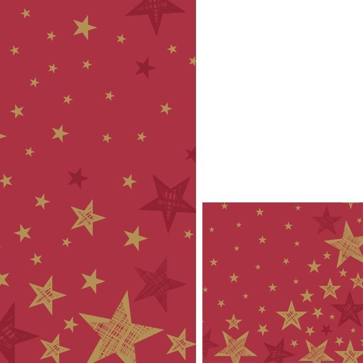 Kerst tafeldecoratie set rood/goud sterren tafelkleed/servetten - Kerstdiner tafeldecoratie versieringen