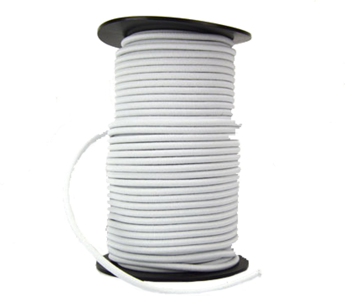 50 meter Elastisch Touw - 10 mm - WIT - elastiek op rol kopen