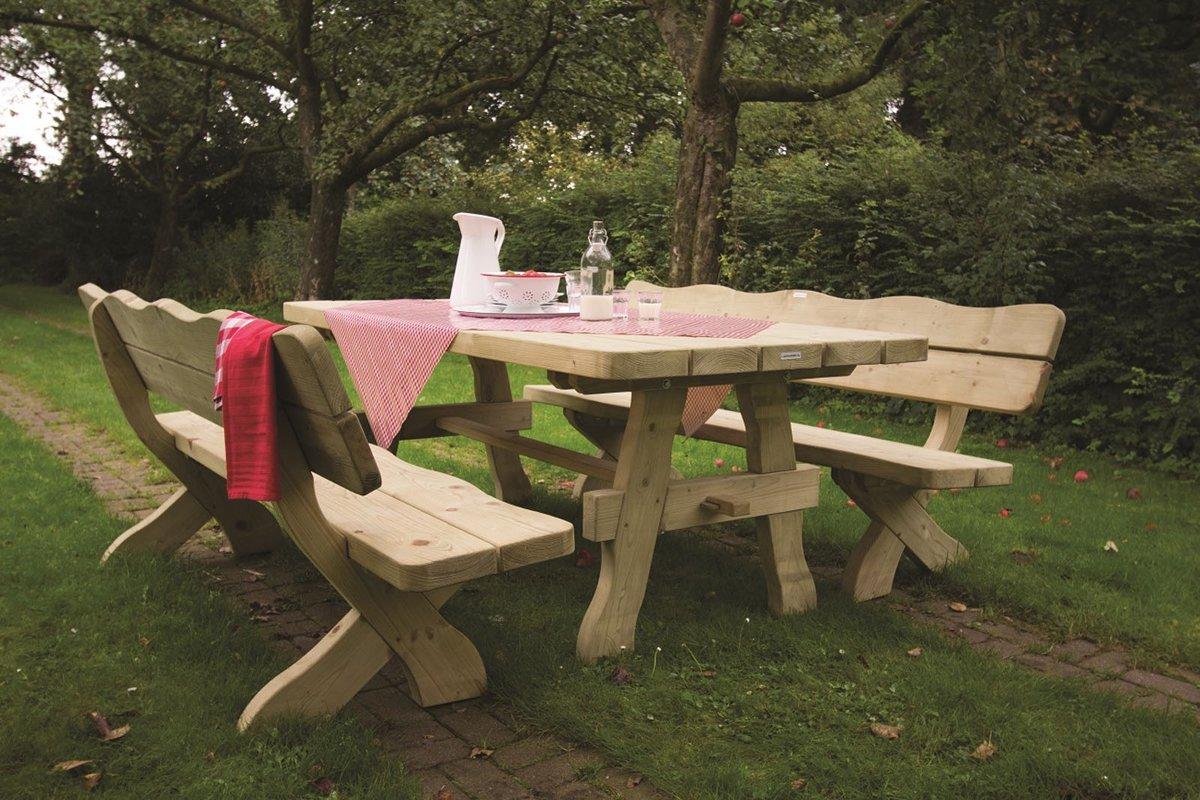 MaximaVida houten tuinset landelijke stijl 240 cm (tafel + 2 banken)
