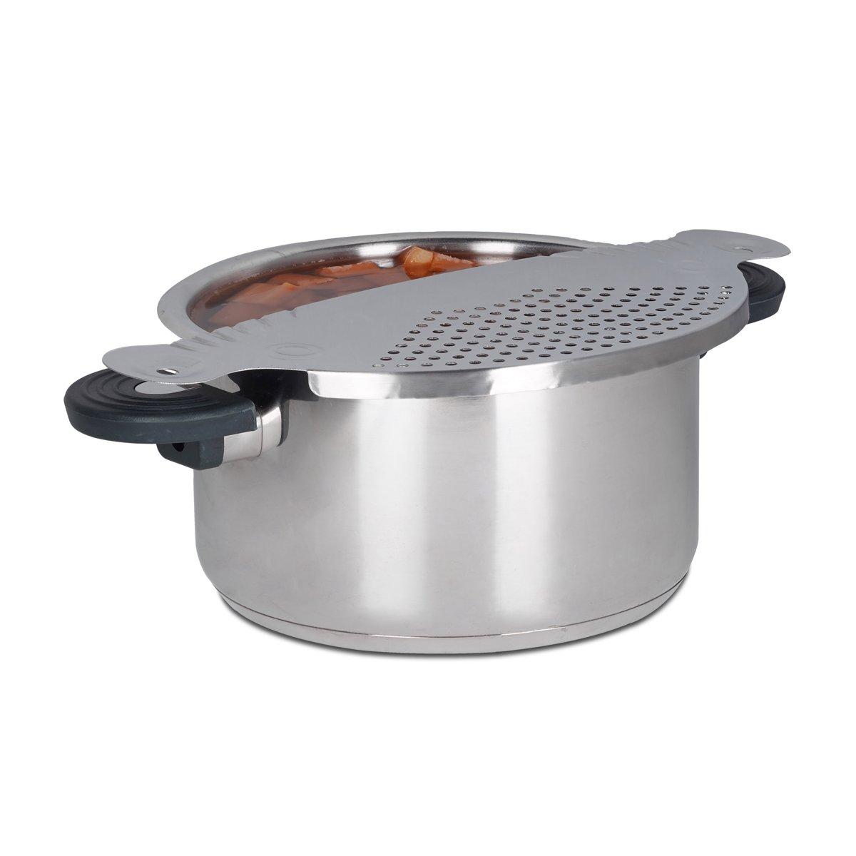relaxdays afgiethulp roestvrij staal  - afgieten - keukenhulp - zeef - zilver - afdruipen kopen