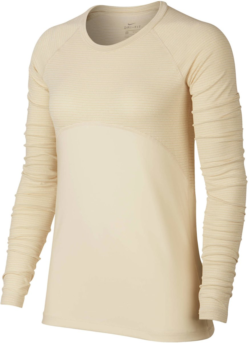 Nike Pro Warm  Sportshirt - Maat S  - Vrouwen - crème kopen