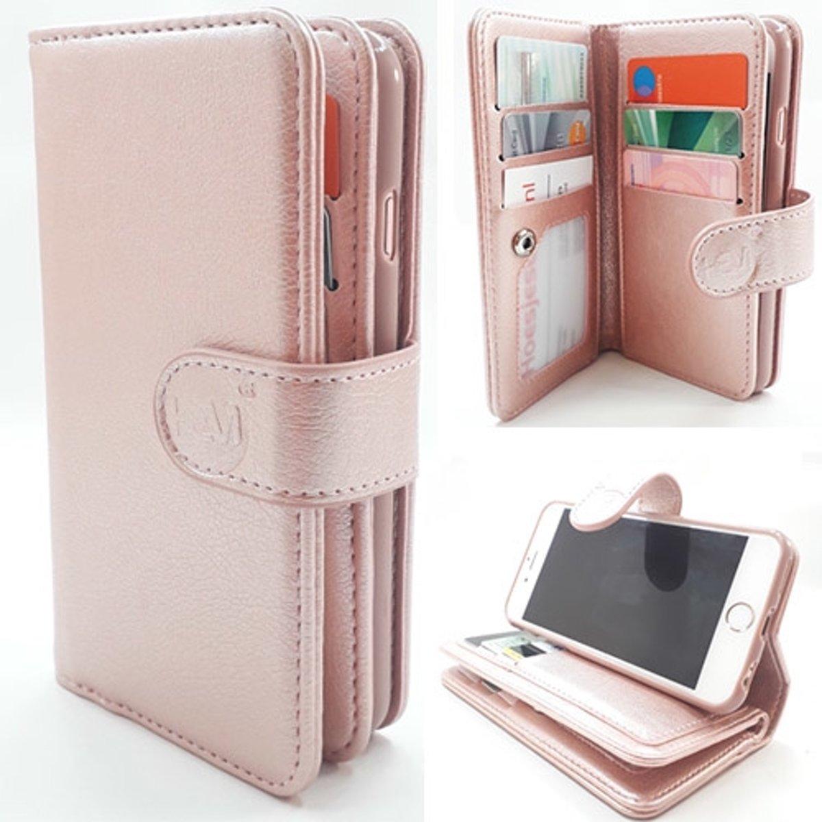 HEM Samsung Galaxy A5 2017 A520 Rose Gold Leren Rits Portemonnee Hoesje Lederen Wallet Case TPU meegekleurde binnenkant Book Case Flip Cover