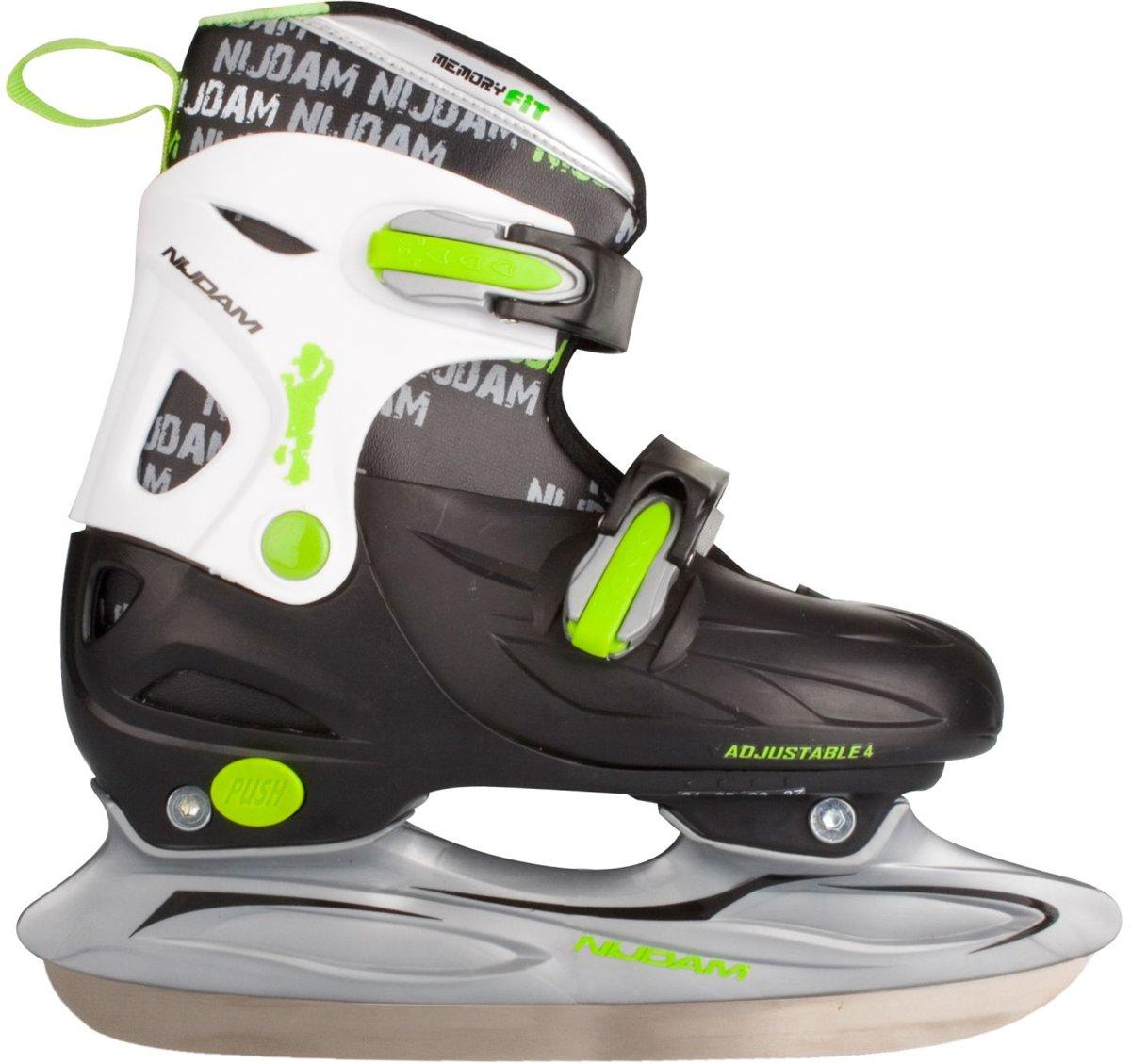 Nijdam 3010 Junior IJshockeyschaats - Verstelbaar - Hardboot - Zwart/Wit/Groen - Maat 38-41
