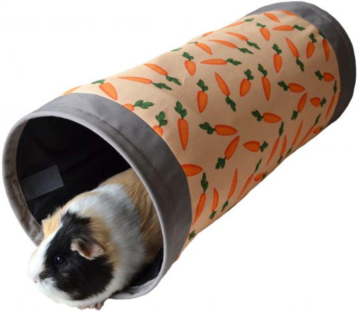 Rosewood Knaagdier Tunnel Wortelprint - Knaagdierspeelgoed - Grijs / Oranje - 50 x 22 x 22 cm