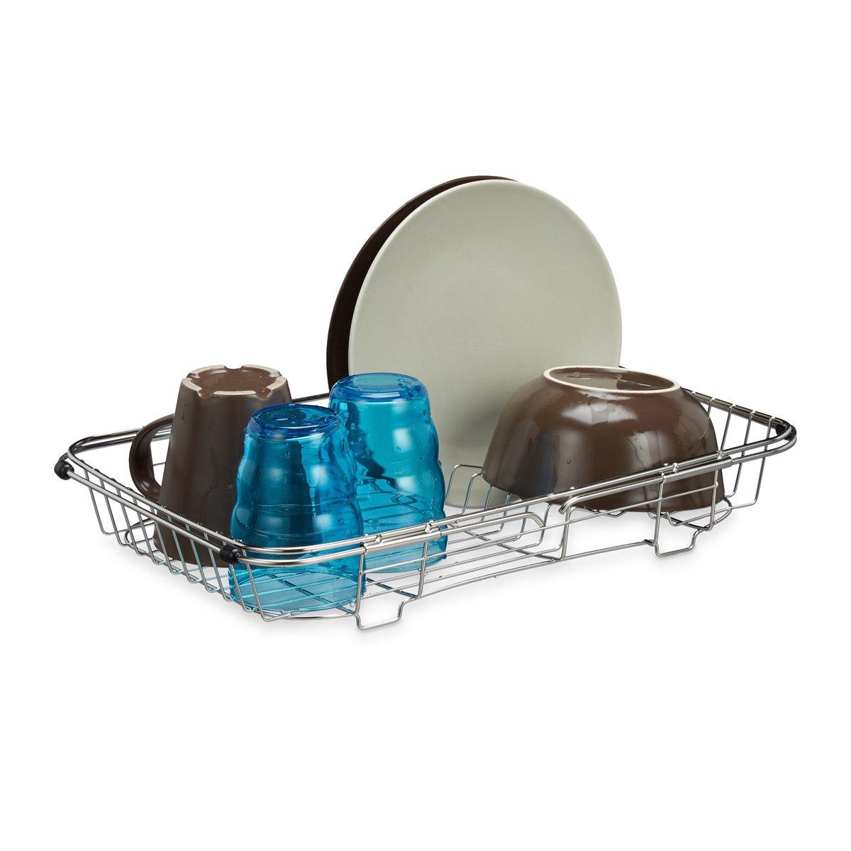 relaxdays afdruiprek voor wasbak, verstelbaar, uittrekbaar, zilver metaal kopen